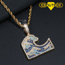 Colorful Full AAA Zirconia Ocean Waves Surfing Pendant Necklace For Men's Women Hip Hop Jewelry Gold Silver Rose Gold Rope Chain(China)