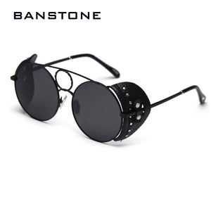 Image 3 - BANSTONE Women Vintage Metal Circle SteamPunk Polarized Sunglasses Leather Side Shield Brand Men Sun Glasses Oculos De Sol UV400