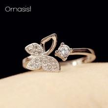 Best Crystal Butterfly 925 Sterling Silver Open Ring Adjustable For Women Girls Fine Gift Jewelry цена в Москве и Питере