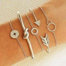 5 pz/set di modo freccia rotonda di cristallo stelle annodate geometrica catena braccialetto Set donne fascino regalo dei monili del partito
