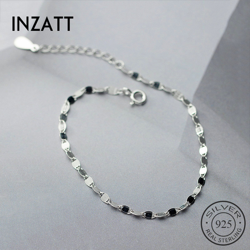 INZATT Real 925 Sterling Silver Minimalist Bracelet For Fashion Women Party Hiphop Fine Jewelry Geometric Accessories Gift