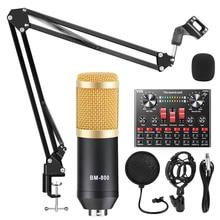 V8S 사운드 카드 bm 800 마이크 믹서 키트 전화 컴퓨터 PC 용 오디오 인터페이스 Podcast 녹음 BM800 콘덴서 마이크