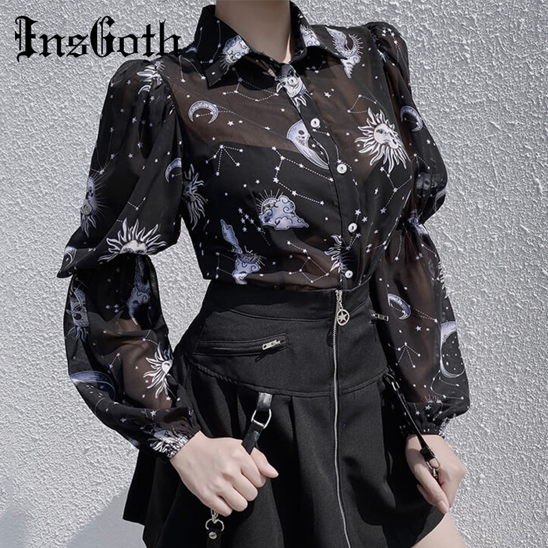 InsGoth Women Sexy Transparent Black T-shirt Chiffon Shirts Gothic Streetwear Moon Son Print Puff Long Sleeve Female Loose Top