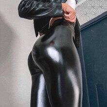 NORMOV siyah yaz PU deri pantolon kadınlar yüksek bel Skinny Push Up tayt seksi elastik pantolon streç artı boyutu pantolon