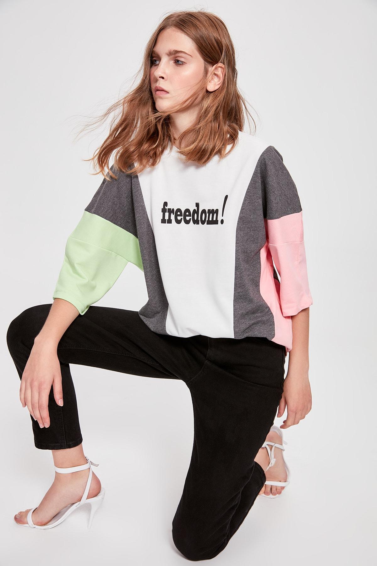 Trendyol Multicolour Printed Boyfriend Knitted Sweatshirt TWOAW20SW0106