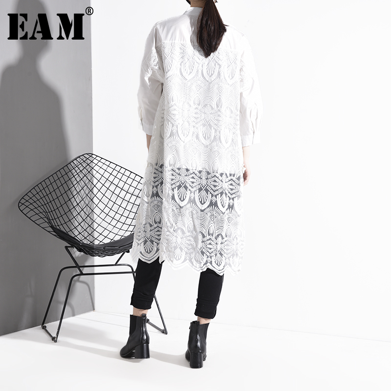 [EAM] Women Back Long Lace Big Size Long Blouse New Lapel Long Sleeve Loose Fit Shirt Fashion Tide Spring Autumn 2020 1S026