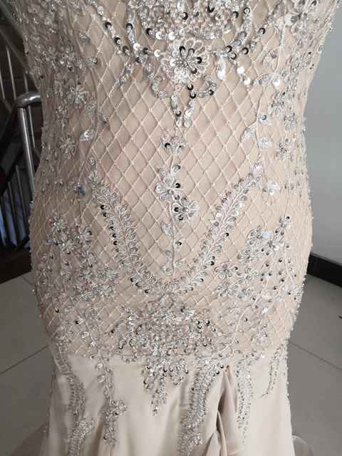 2021 Luxury Sheer Neck Mermaid Prom Dresses Beadings Sequined High Split Gowns Formal Mother of the Bride Dress Evening Wear 3