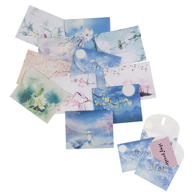 10 Sets Cute Chinese Vintage Style Flowers Paper Envelope For Letter Creative Stationery Paper Postcards Card Scrapbooking