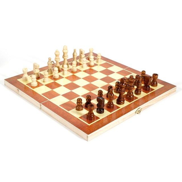 Pliant en bois International jeu d'échecs pièces ensemble jeu de société drôle jeu Chessmen Collection Portable conseil jeux de voyage 5