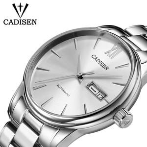 Image 5 - CADISEN Automatic Mens Mechanical Watch Waterproof Week Calendar Double Show Business Gentleman Man Style Steel Band Watch