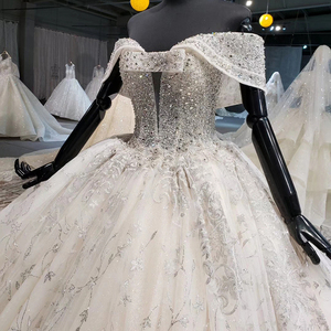 Image 5 - HTL1037 2020 새로운 볼 가운 웨딩 드레스 아가씨 칼라 어깨 위로 레이스 위로 디자인 웨딩 드레스 vestido de noiva