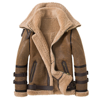 SANI New Double Collars 2020 Thick Genuine Leather Sheepskin Fur Jacket Natural Shearling Fur Coat Winter Men Warm Fur Clothing