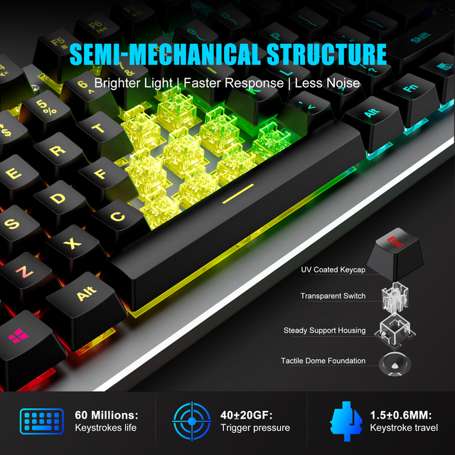 RedThunder K800 RGB Gaming Keyboard and Mouse, Sim-Mechanical Metal Cover, 6400DPI 7 Programmable Button for PC RU ES FR 3