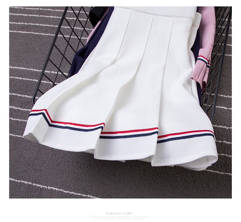 XS-XXL High Waist A-Line Women Skirt Striped Stitching Sailor Pleated Skirt Elastic Waist Sweet Girls Dance Skirt Plaid Skirt 35