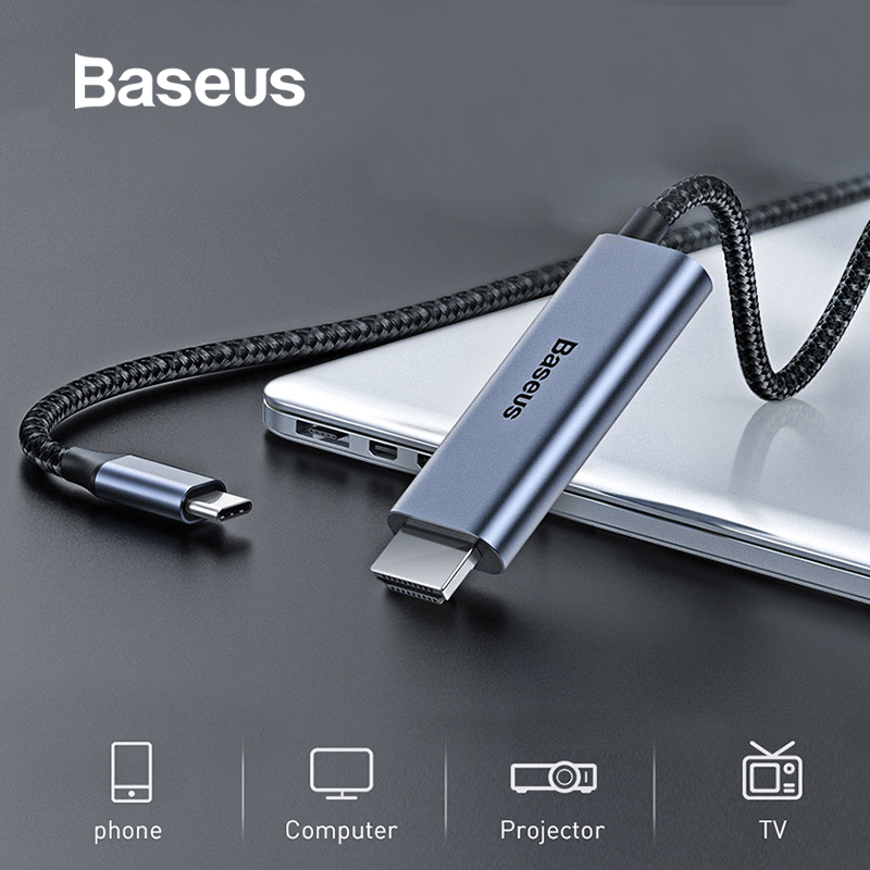 Baseus Type-c To HDMI Cable 4K 60Hz FHD HDMI Cable With 60W PD Charging Support For MacBook Samsung Huawei Laptop Projector TV