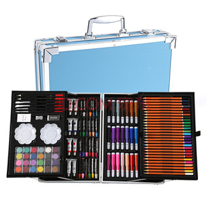 Image 5 - Portable Aluminum Alloy Suitcase Solid Watercolor Paint Oil Paints Water Color Pen Colored Pencil For Painting Gift Set Supplies
