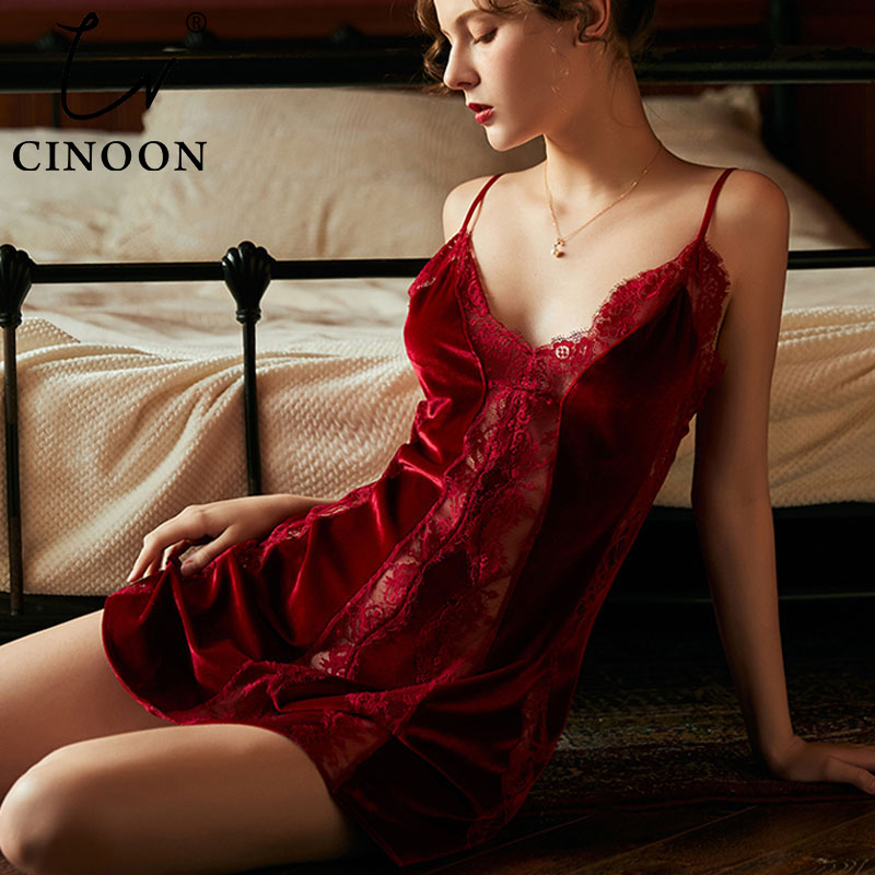 CINOON Women's Sexy Lingerie Velvet Nightgown Deep V Lace Sleepwear Lingerie Exposure Back Nightdress Nightwear Summer Homewear
