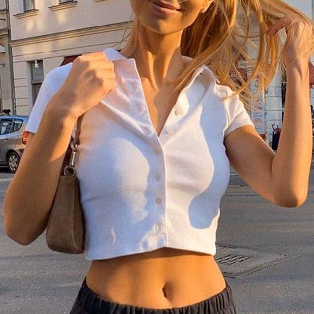 Wjfzqm Effen Kleur Polo S Top Vrouwen Korte Mouw T-Shirt Geribbelde Knop Vest Crop Top Vrouwen T-shirt Casual zomer Tshirt 2020