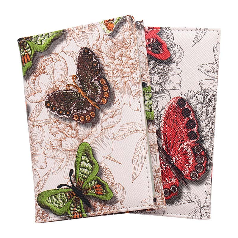 Colorful Romantic Butterflies Genuine Leather Passport Holder Travel Wallet
