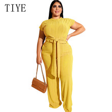 TIYE Women Plus Size 4XL 5XL Wide Leg Jumpsuits Summer Two Pieces Sets Short Sleeve Playsuits with Belt Ladies Overalls