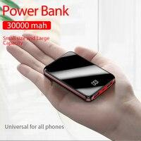 Portátil mini 30000 mah power bank para todo o telefone móvel banco de potência pover banco carregador 2 portas usb bateria externa poverbank|Baterias Externas| |  -