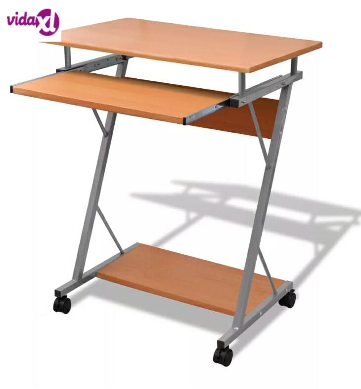 Vidaxl Computer Desk Pull Out Tray Brown Furniture Office Student Table Modern Brown Computer Desk For Laptop Desktop Desk