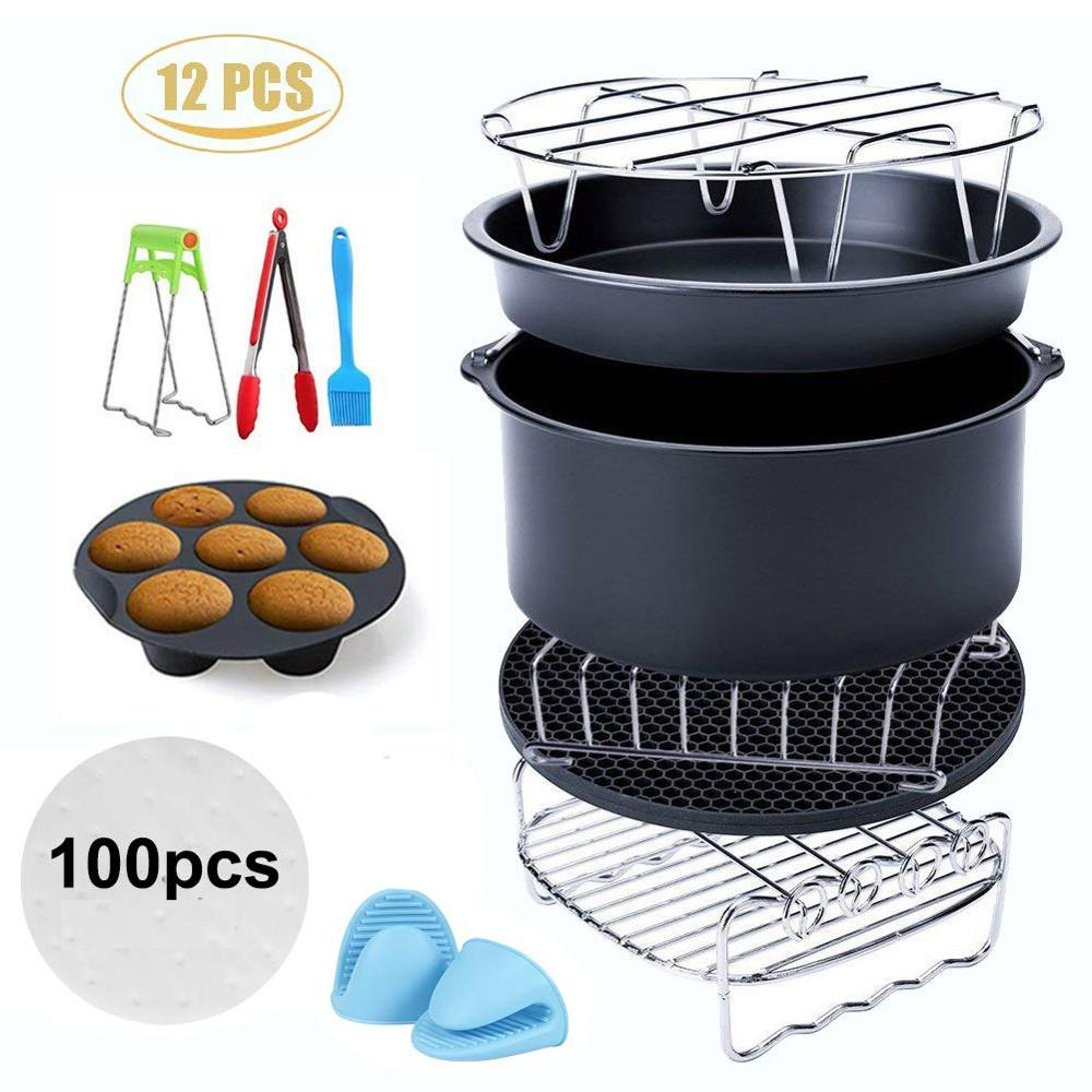 12pcs Air Fryer Accessories  Fit all 3.2QT – 5.8QT Power Deep Hot Air Fryer Pizza Plate Grill Pot Kitchen Cooking Tool for Party