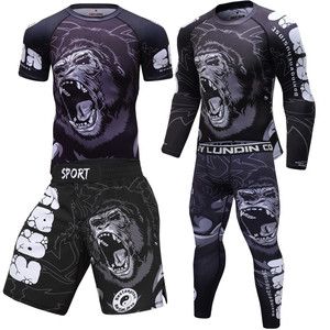 New Boxing Set Compression Jersey Pants 3D orangutan Print Rashguard Kickboxing Tight T-shirts Pants Muay Thai MMA Fightwear(China)