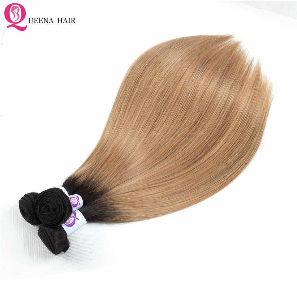 1B 27 Ombre pasma prostych włosów z zamknięciem miód blond peruwiański wiązki ludzkich włosów z zamknięciem Remy 3 zestawy z zamknięciem