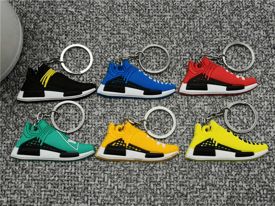 Cute Shoes Keychain Mini Pw Human Race Nmd Tr Pharrell Shoe Key Chain Woman Men Kids Gift Key Ring Basketball Sneaker Porte Clef