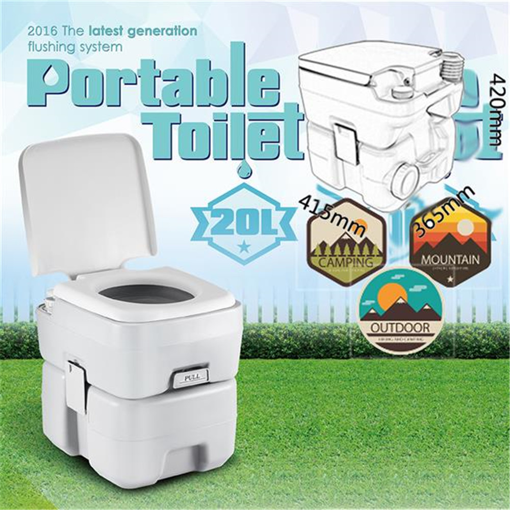 CHH-1020T 20L Portable Removable Flushing Toilet Upgrades Outdoor Camping Potty Gray Outdoor Toilet