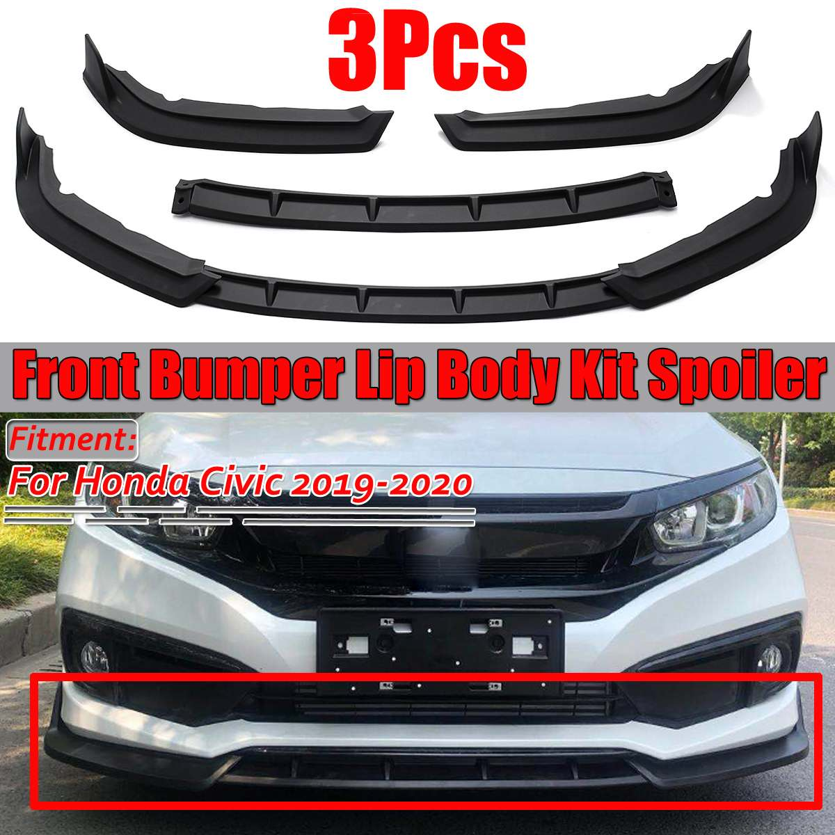 2019 3PCS Car Front Bumper Splitter Lip Diffuser Lip Body Kit Protector Spoiler Guard Cover Trim For Honda For <font><b>Civic</b></font> 2019 2020 image