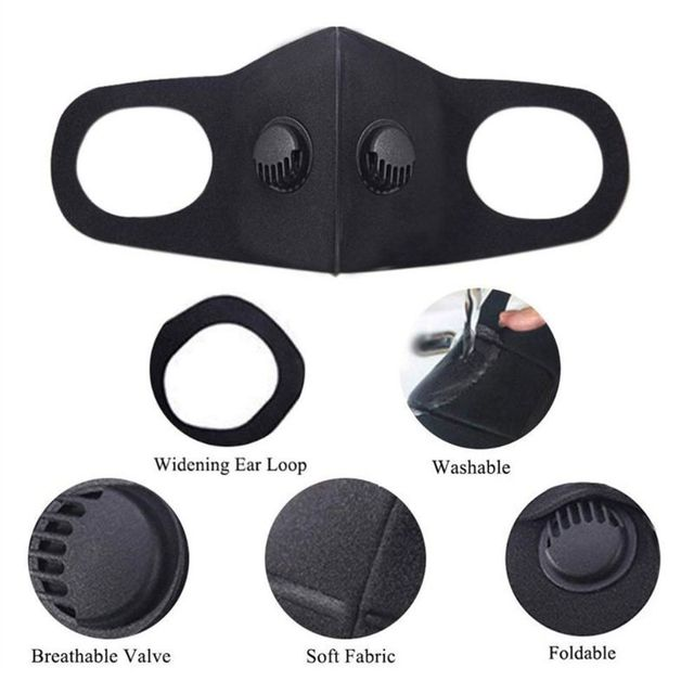 dult Double Breathing Valve Mouth Mask Saliva Prevention Polyurethane Sponge Face Shield 3