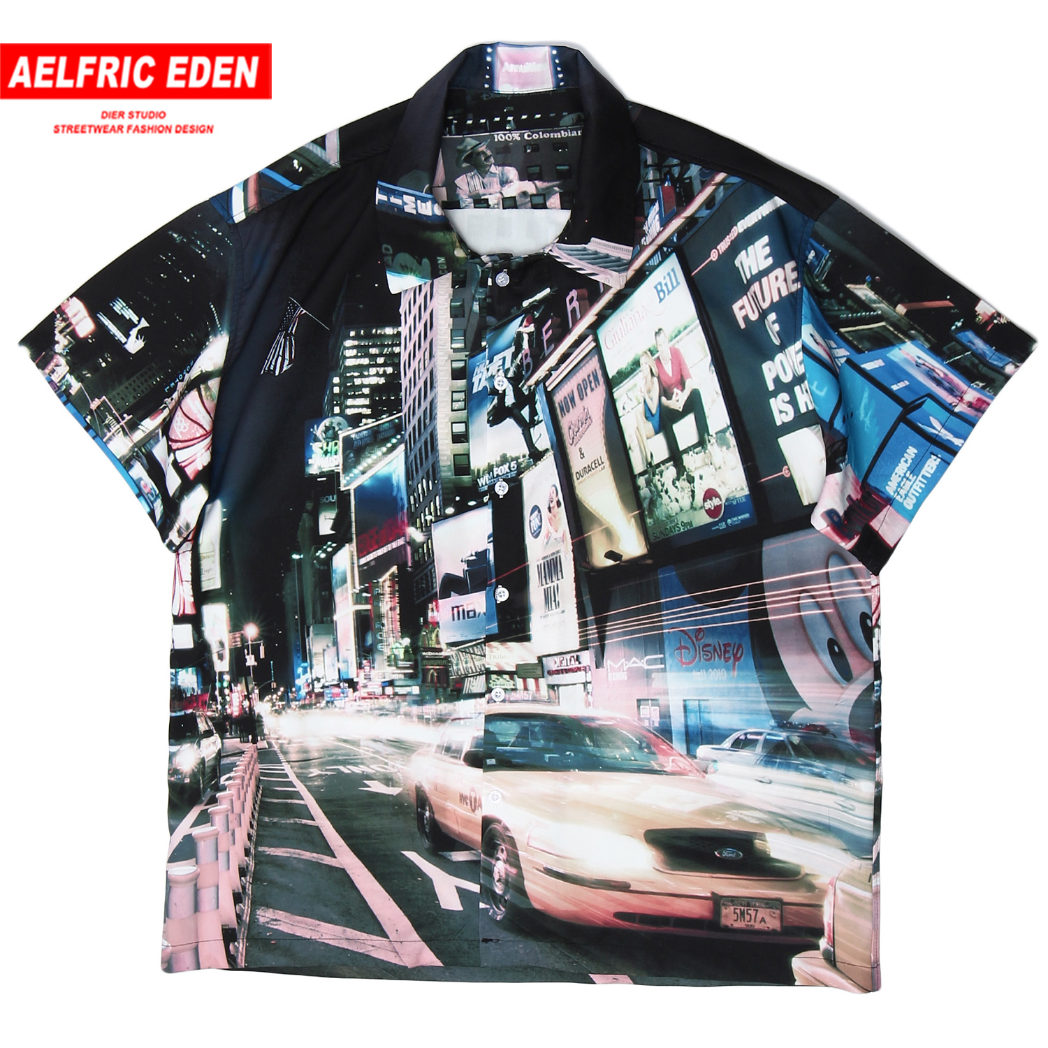 Aelfric Eden Hawaii Lost In New York Printed Beach Men Shirt Fashion 2020 Casual Cotton Short Sleeve Harajuku Hip Hop Loose Tops image