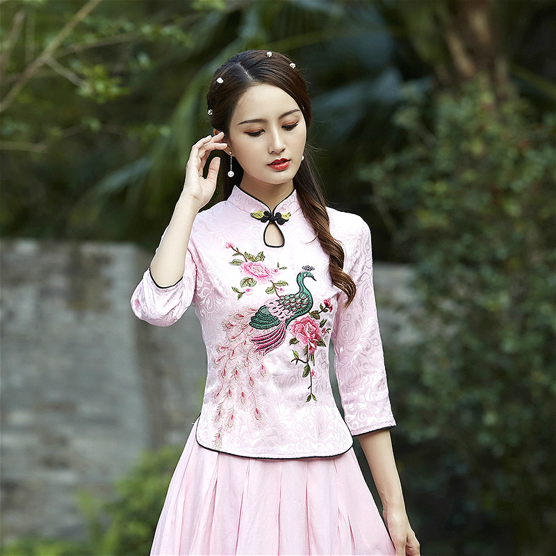 Plus Size Ladies Blousse Peacock Embroidered Long Sleeve Jacquard Cotton Chinese Tops Sexy Cheongsam Blouse M-4XL Qipao Shirt