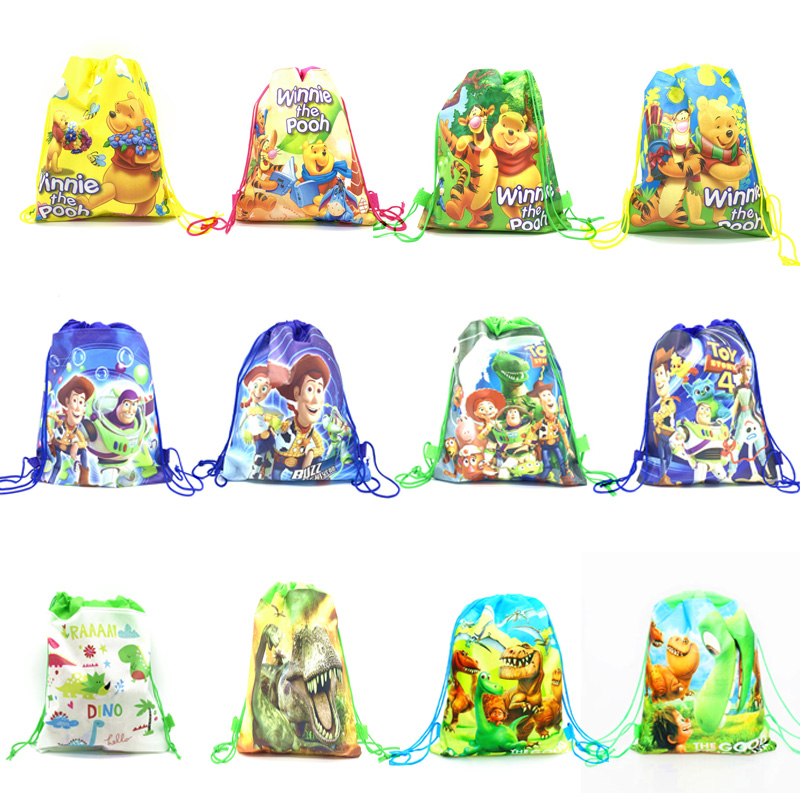 1pcs Toy Story Colorful Non-woven Fabrics Drawstring Bags Kids Birthday Party Decorations Winnie Halloween Candy Draw Pockets
