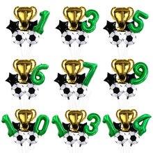 32 polegada verde dígito número globos futebol balões de hélio copa do mundo troféu bola crianças menino aniversário festa decorações crianças