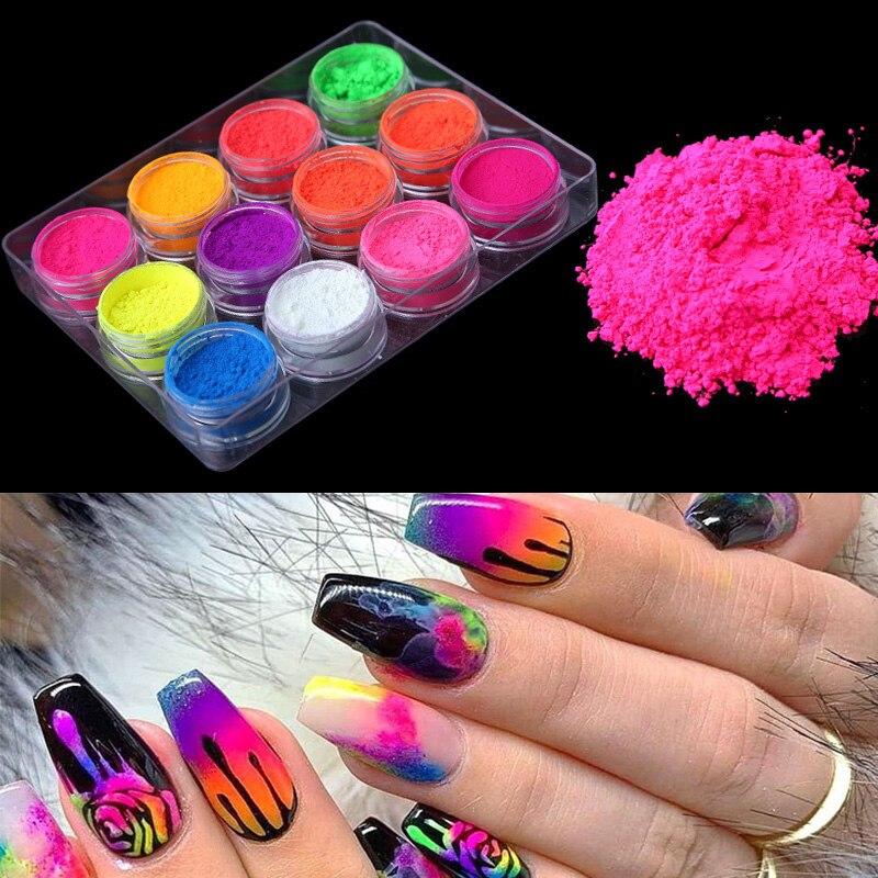 12 коробок/набор Флуоресцентный порошок для ногтей цветные блестящие пудра для ногтей хлопья гвоздь художественные украшения для гель-лака ...