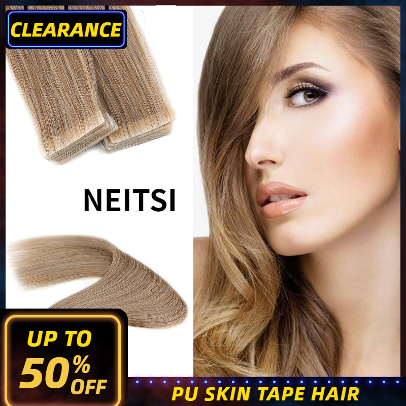 Neitsi Natural Straight PU Skin Weft Adhesives Hair Extensions 16