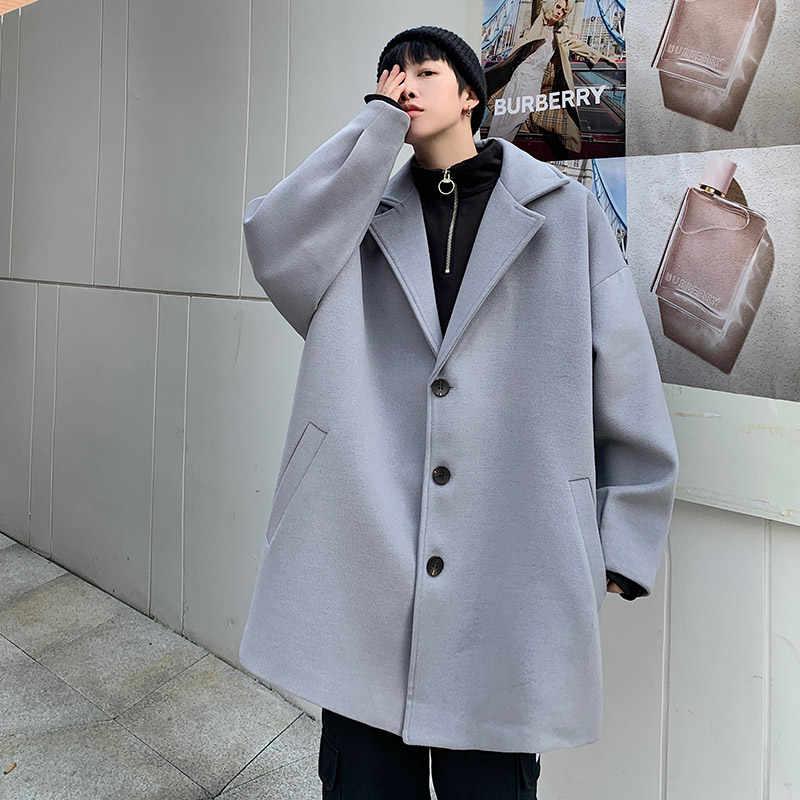 모직 코트 남자 가을, 겨울 정장 칼라 느슨한 대형 모직 코트 남자 솔리드 모직 코트 코트 모직 트렌치 코트