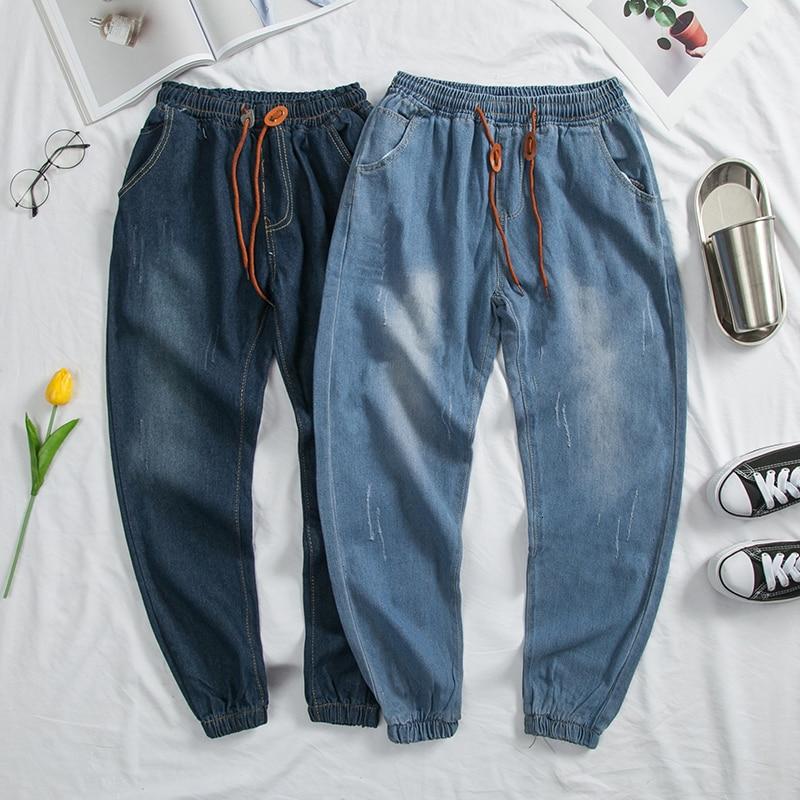 Men's Cowboy Leisure Drawstring Casual Pants Holes Tide Stretch Slim Fit Cargo Pocket Skinny Jeans Blue Biker Denim Trousers