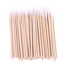 100 шт.% 2Fpack одноразовые Ultra Small тампон хлопок палочки ворс бесплатно деревянный ручка кисти ресницы наращивание клей удаление инструмент