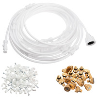 30FT Misting Cooling System Set Outdoor Garden Greenhouse Irrigation Watering Mister Nozzles Sprayers
