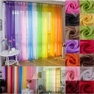 1 Uds. De cortinas de tul para la cocina, sala de estar, cortina de tul sólida pura para cortinas de ventanas, pantalla de ventana de 100x200cm