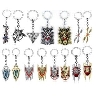 Лига Легенд Джинкс пушки брелок League of Legends металлический брелок для ключей железа Solari Leona nunu оружие брелок для подарка брелок для автомобиль...