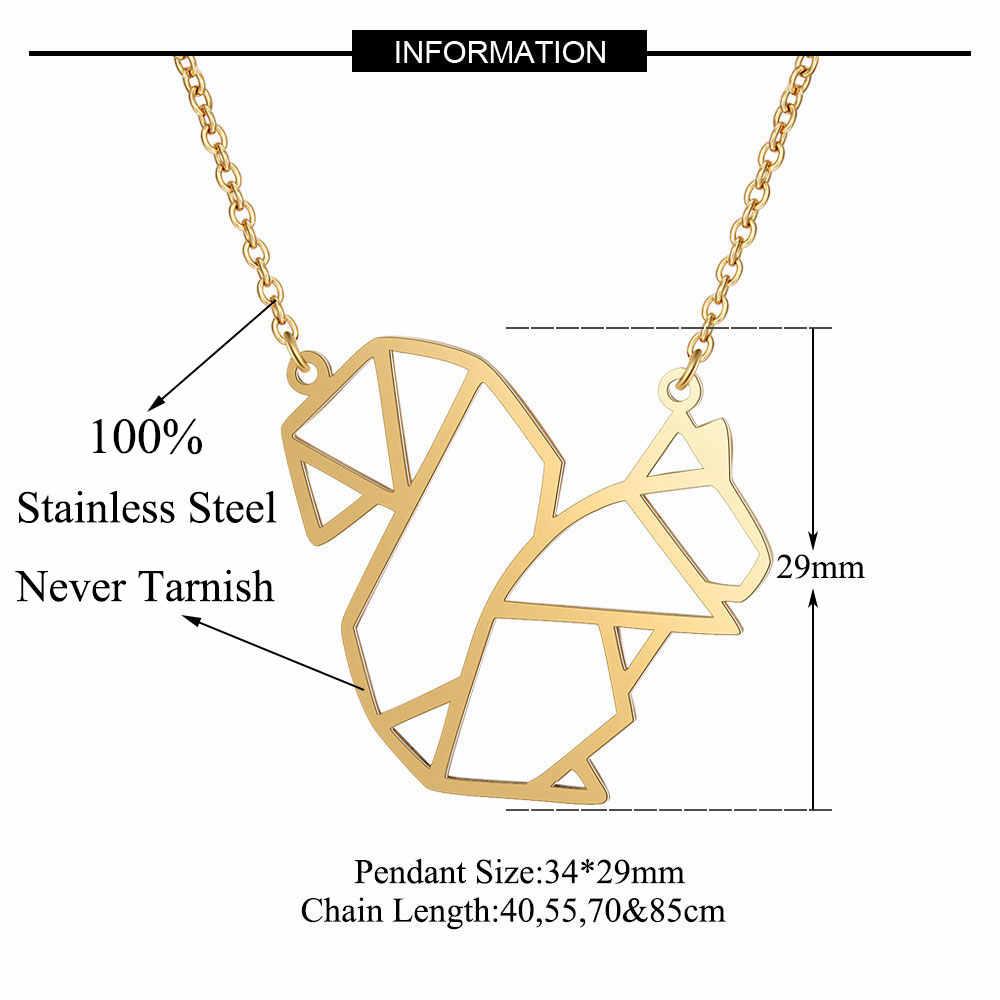 Vnistar unikalne 40cm długie naszyjniki niesamowita jakość 100% ze stali nierdzewnej zwierząt wiewiórka naszyjnik dla kobiet moda biżuteria