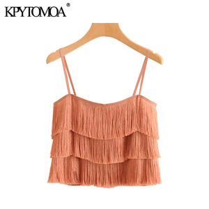 Vintage Sexy Ruffles Tassel Cropped Camis Women 2020 Fashion Backless Spaghetti Straps Party Club Female Shirts Chic Tops