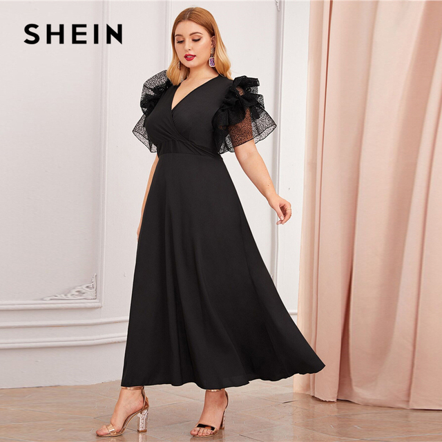 SHEIN Plus Size Black V Neck Exaggerated Ruffle Surplice Flared Party Dress Women Autumn Short Sleeve Ladies A Line Maxi Dresses 4