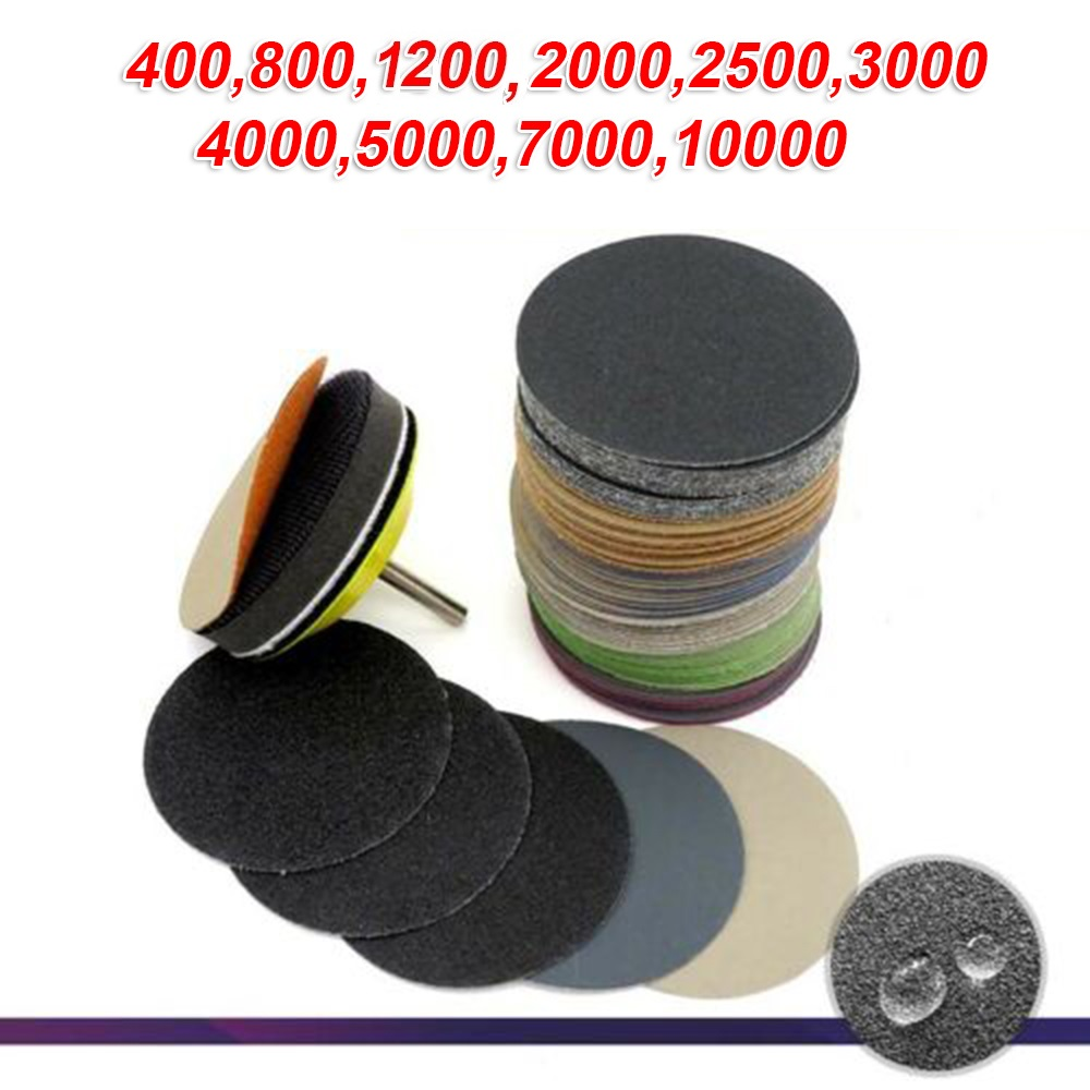 50Pcs 3Inch 75mm Sanding Discs Wet & Dry Flocking Sandpapers 400-10000 Grit   Waterproof And Oil Proof