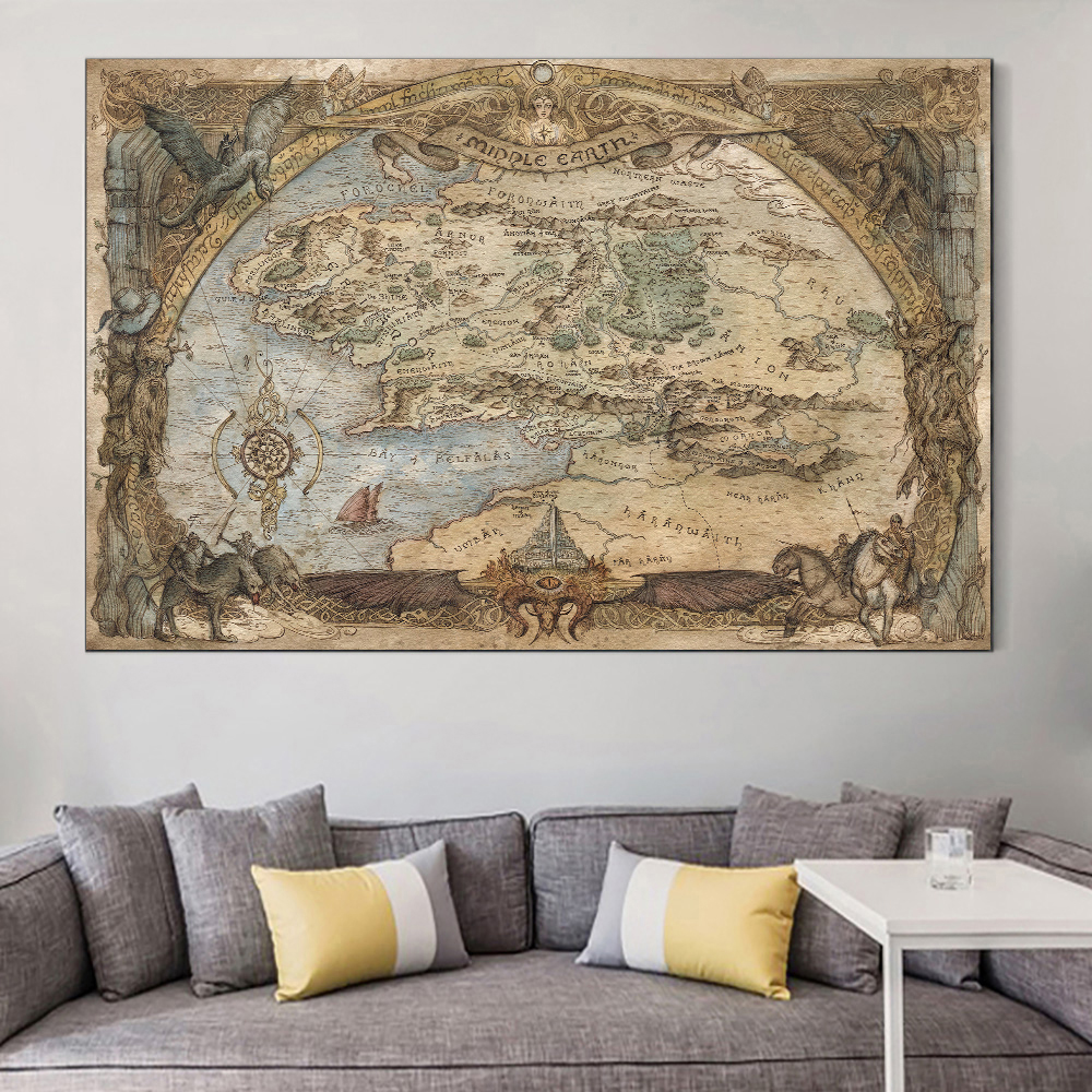 Westeros And Essos Treasure World Map Art Canvas Painting Art Posters and Prints on The Wall for Living Room Home Decoration